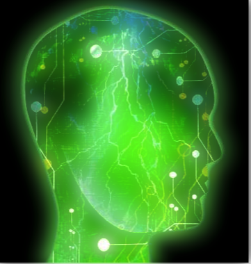 Illuminated brain with emotional cleansing reaction