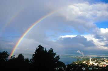 Landscape with rainbow above city