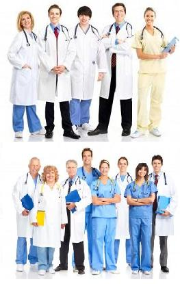 2 groups of medical doctors smiling