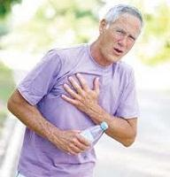 Man with breathing and chest pain during exercise