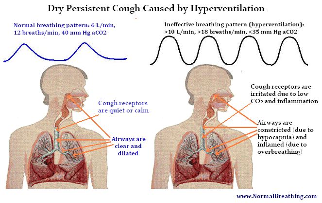 Mechanism of dry cough caused by hyperventilation