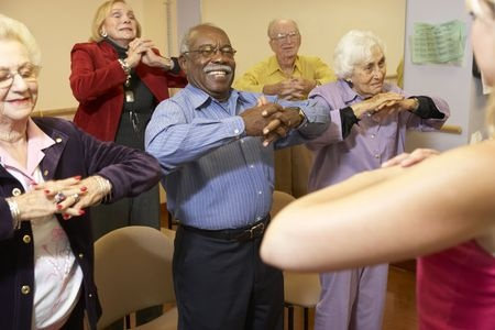 elderly do breathing with exercise