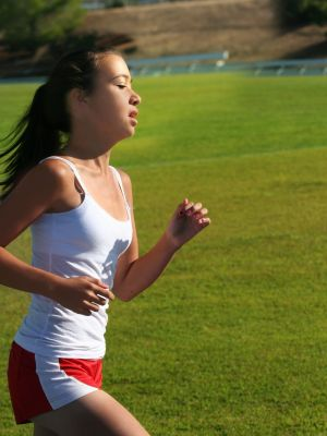 Girl runing exercise with mouth breathing