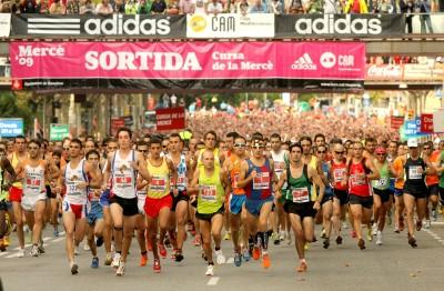 Athletes running during mass competition